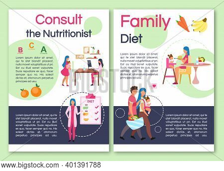 Consulting Nutritionist Brochure Template. Flyer, Booklet, Leaflet Concept With Flat Illustrations.