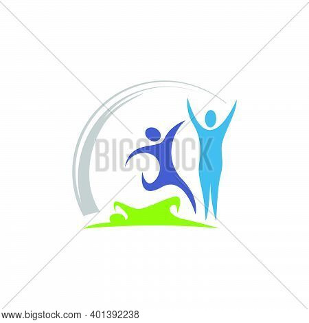 Colorful 3 Three People Logo Template Vector Design Group Sign Of Persons Sports Symbol