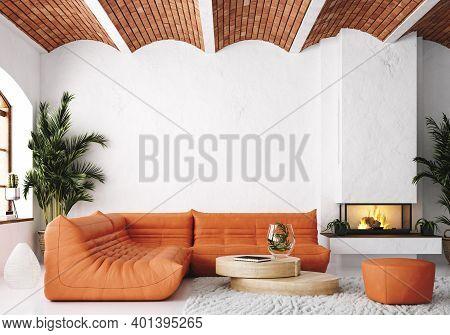 Modern Living Room Loft With Orange Leather Sofa And Brick Ceiling, 3d Illustration