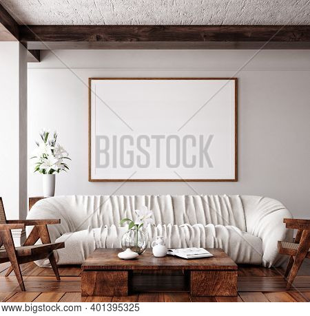 Mockup Frame In Traditional Home Interior Background, 3d Illustration