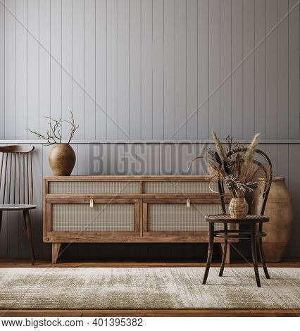 Dark Living Room Interior, Farmhouse Style, 3d Illustration