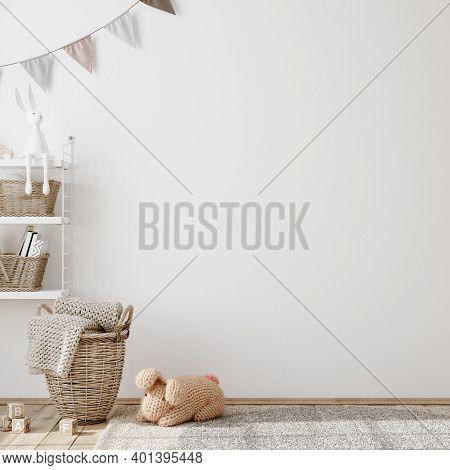 Wall Mock Up In Children Room Interior Background, 3d Illustration