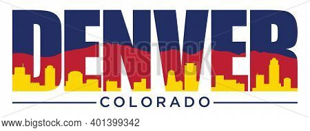 Denver Colorado T-shirt Design With State Flag Colors | Vector Screen Printing Layout | Graphic Tee