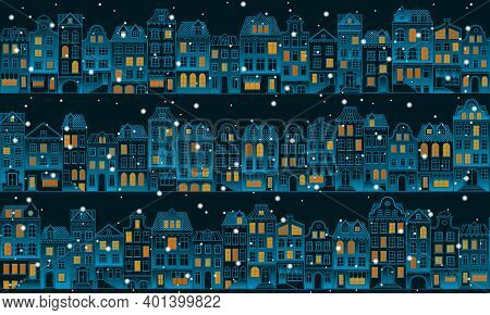 Vector Seamless Background With Townhouses And Falling Snow. Hand-drawn Winter Houses In European St