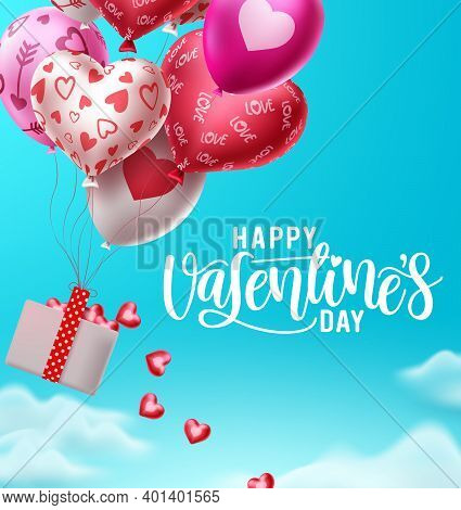 Happy Valentines Day Balloons With Falling Hearts Vector Design. Valentines Day Greeting Text With F