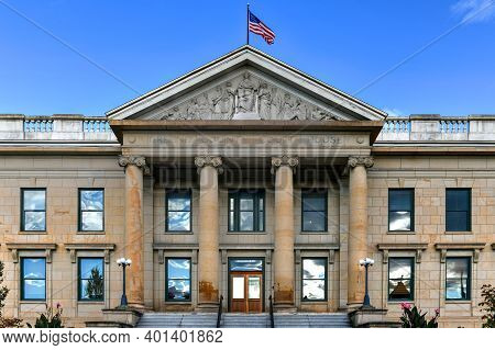Greene County Courthouse Building Facade In The Greek Revival Style In Catskill, New York.