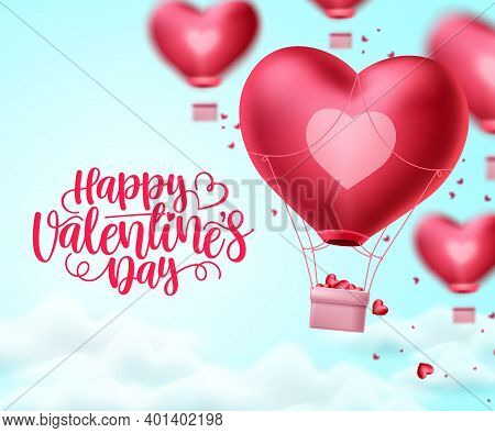 Happy Valentines Day Heart Balloon Vector Design. Valentines Day Greeting Text With Heart Air Balloo