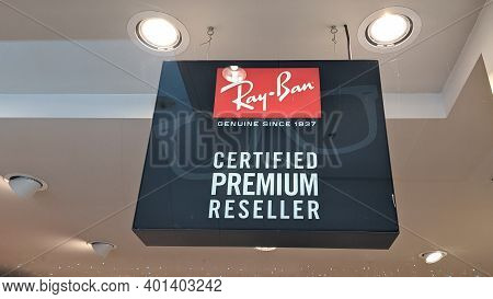 Bordeaux , Aquitaine  France - 12 25 2020 : Ray-ban Reseller Sign Text And Logo Store Of Sunglasses