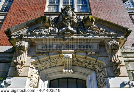 Brooklyn, New York - Sep 20, 2020: Entrance To John Jay High School On 7th Ave In Park Slope Of Broo