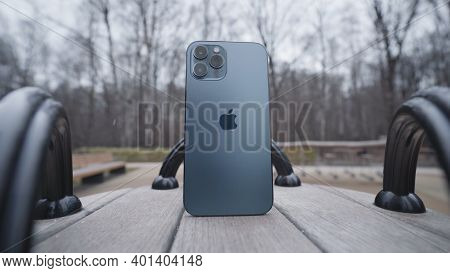 Moscow, Russia-november, 2020: Back Of New Iphone. Action. Luxury New Iphone 12 Pro Max On Carousel