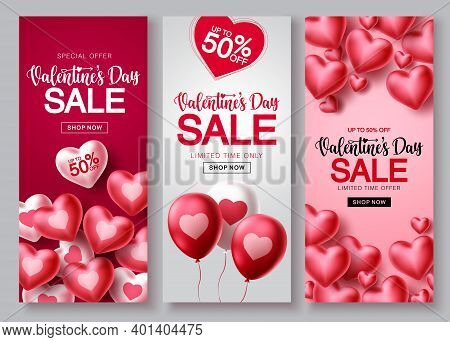 Valentines Day Sale Vector Poster Set. Valentines Day Sale Text With Heart Balloon Elements In Red A