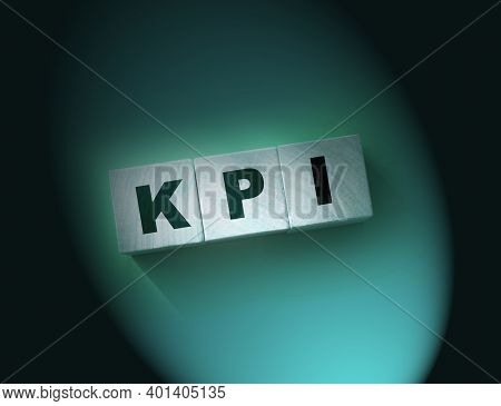 Kpi - Wooden Blocks With Letters, Key Performance Indicator Kpi Concept, Top View On Red Background