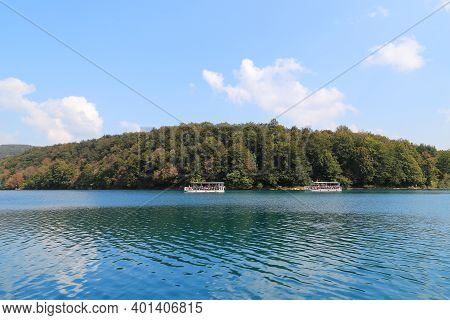 Plitvice, Croatia - September 13, 2016: This Is An Electric Ferry Crossing Over The Large Kozjak Lak