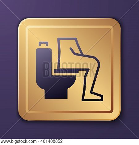 Purple Men Sitting On The Toilet And Constipation Are Experiencing Severe Abdominal Pain Icon Isolat