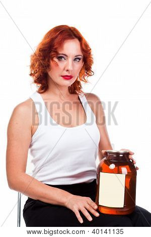woman with a can