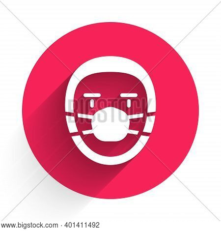 White Doctor Pathologist Icon Isolated With Long Shadow. Red Circle Button. Vector