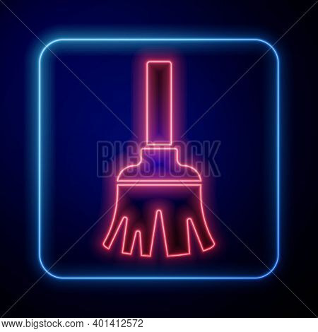 Glowing Neon Feather Broom For Cleaning Icon Isolated On Blue Background. Feather Duster. Vector