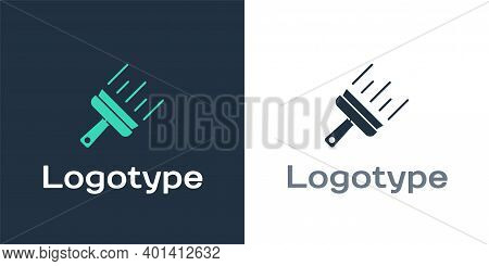 Logotype Cleaning Service With Of Rubber Cleaner For Windows Icon Isolated On White Background. Sque