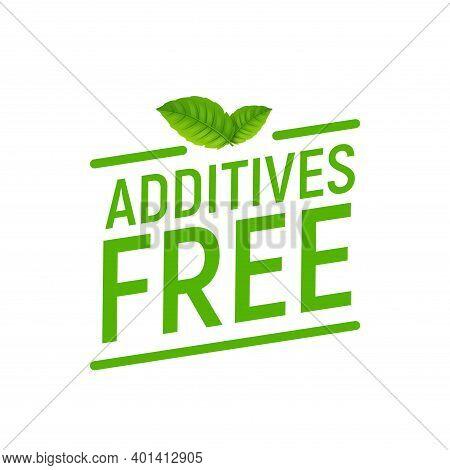 Preservative Free Logo Icon Stamp. Additives Free Icon Green Label Sign