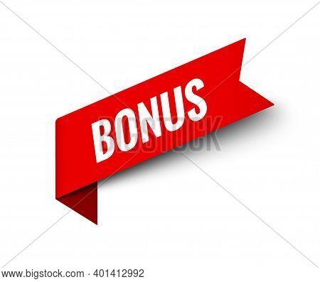 Price Tag Bonus Button. Offer Red Ribbon Bonus Sticker