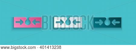Paper Cut Acne Icon Isolated On Blue Background. Inflamed Pimple On The Skin. The Sebum In The Clogg