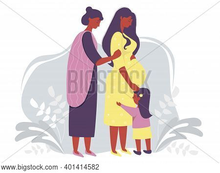 Motherhood And Ethnic Family. Happy Pregnant Dark-skinned Woman In A Yellow Dress Gently Hugs Her Be