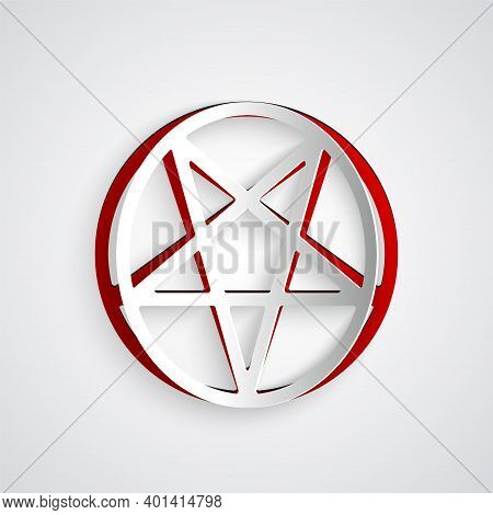 Paper Cut Pentagram In A Circle Icon Isolated On Grey Background. Magic Occult Star Symbol. Paper Ar