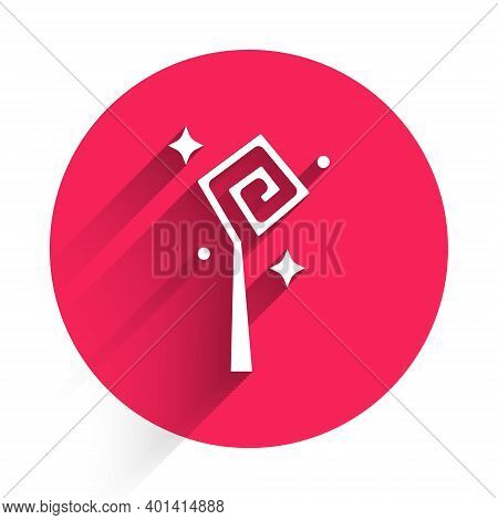 White Magic Staff Icon Isolated With Long Shadow. Magic Wand, Scepter, Stick, Rod. Red Circle Button