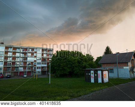 Bosanski Brod / Bosnia And Herzegovina -june 19, 2020: Storm Arcus Shaft And Cumulonimbus Cloud With