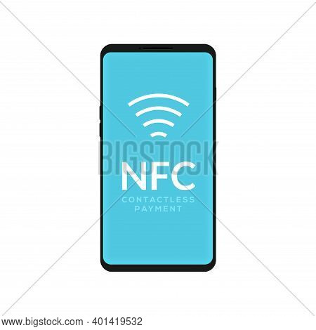 Contactless Nfc Wireless Pay Mobile Sign Logo. Credit Card Nfc Payment Vector Concept