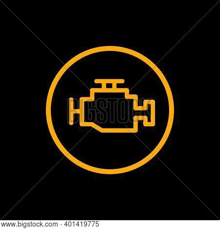 Engine Car Check Icon. Car Vector Dashboard Engine Silhouette Alert Symbol