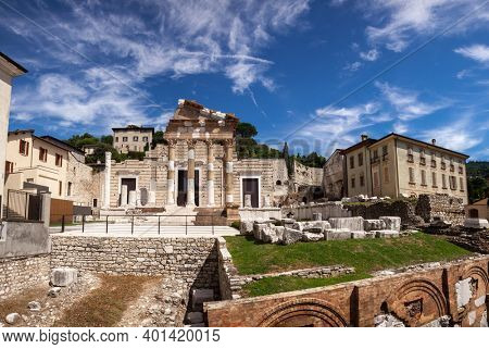 Panoramic view of Roman forum with Capitolium (Temple of the Capitoline Triad), the main temple in Roman town of Brixia now Brescia, Lombardy, Northern Italy, part of the UNESCO world heritage