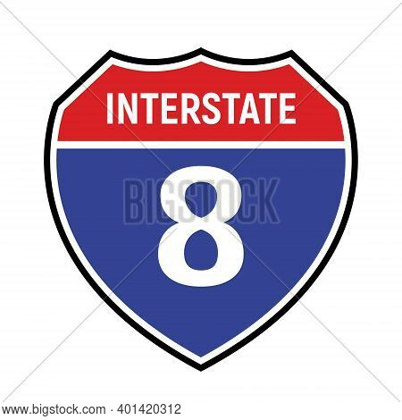 8 Route Sign Icon. Vector Road 8 Highway Interstate American Freeway Us California Route Symbol