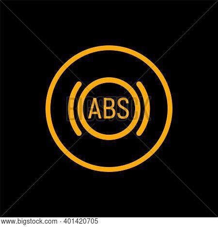 Anti Braking Abs Button Logo System. Lock Braking System Icon Symbol Illustration