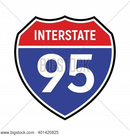 95 Route Sign Icon. Vector Road 95 Highway Interstate American Freeway Us California Route Symbol