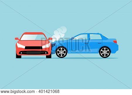 Car Accident Speed Crash Vector Top View Cartoon Icon. Car Crash Concept Illustration