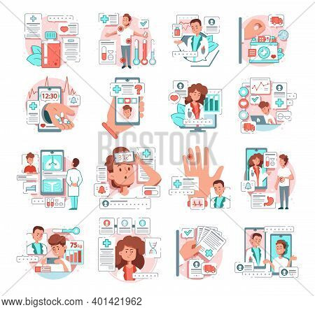Telemedicine Flat Set Patients Have Consultation With Doctors Online Isolated Vector Illustration