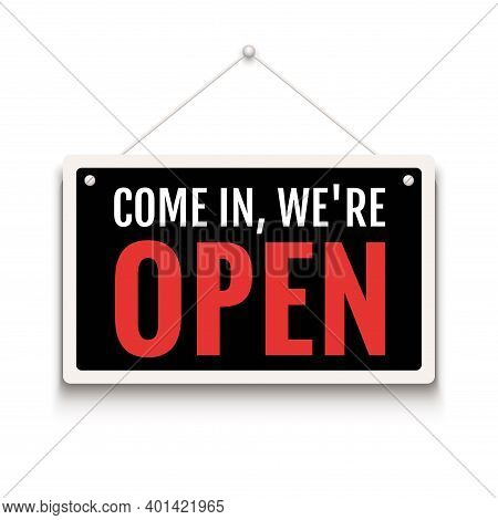 Open Sign Business Vector Shop Icon. We Are Open Door Welcome Board
