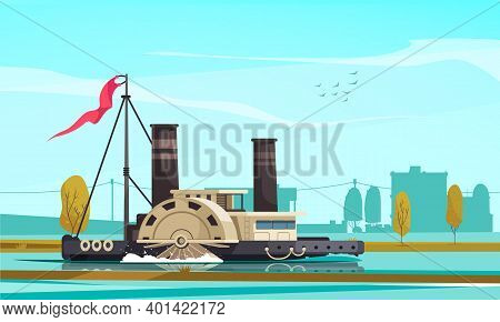 Vintage Transport Composition With Outdoor Scenery Cityscape With Paddle Wheel Type Steamboat Floati