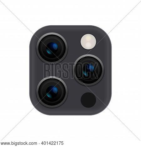 Camera Phone Lens Mobile 3d Vector Icon. Smart Phone Camera Lense Back Concept