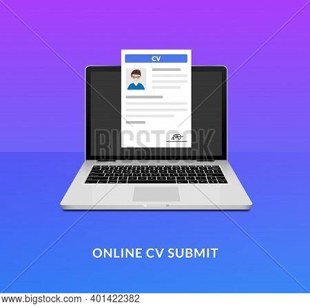 Cv Laptop Send Icon. Open Application Desk Cv Form Vector Submit