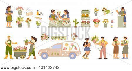 Floristry Flat Elements Set With Farm Nursery Flower Arrangements Bouquets Delivery Van Seller Gift