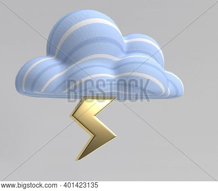 Lightening Strike From Cloud 3d Render Isolated