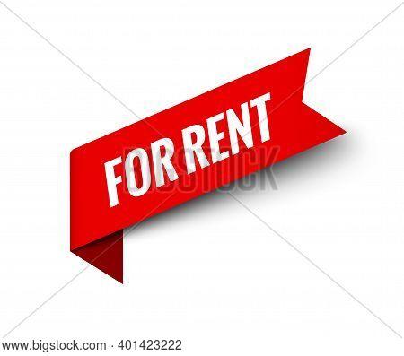 Rent Red Sign Tag Label. For Rent Banner Symbol