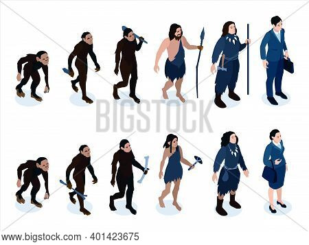 Isometric Human Evolution Color Set With Characters Of Neanderthal Men And Women With Instruments Of