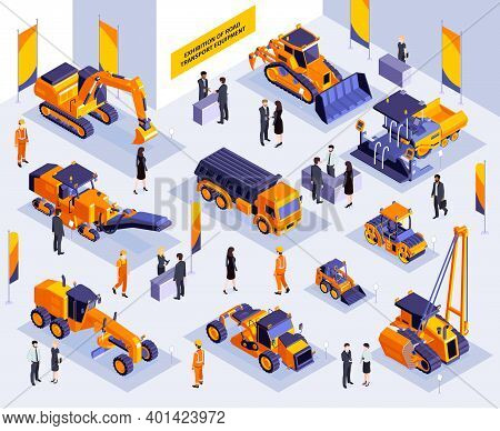 Isometric Construction Exhibition Composition With Indoor Scenery Of Expo Booth With Road Machinery