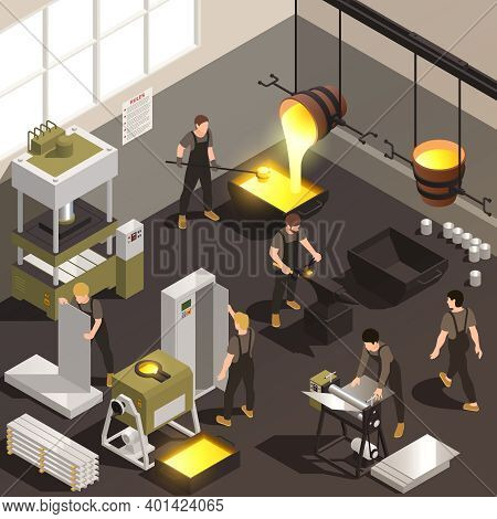 Metalworking Manufacturing Facility Workers Isometric Composition With Pouring Molten Iron Casting F