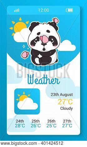 Weather Forecast Kids Mobile App Screen With Cartoon Kawaii Character. Climate, Meteorology Smartpho
