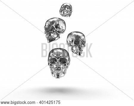 Silver Skulls 3d Render In White Background