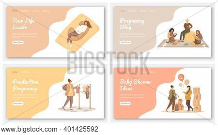 Happy Pregnancy Landing Page Vector Template. Maternity Awaiting Website Interface Idea With Flat Il